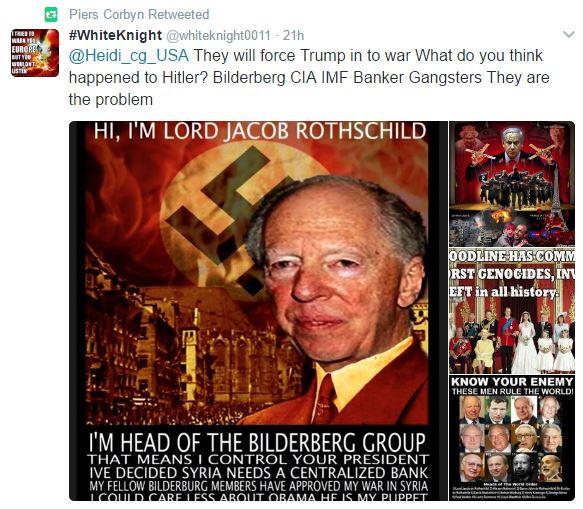 Piers Corbyn antisemitic retweet