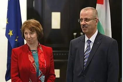 EU foreign affairs chief Catherine Ashton and PA Prime Minister Rami Hamdallah
