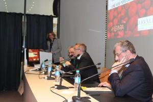 Conf cleantech, de g. à d. : Esther Amar Kagan, Norbert Lypsicz, Bruno Montagnon (Netafim) et Simon Skira (Ecole d'ingénieurs Sami Shamoon)
