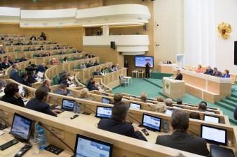 Во время выступления в Совете Федерации
