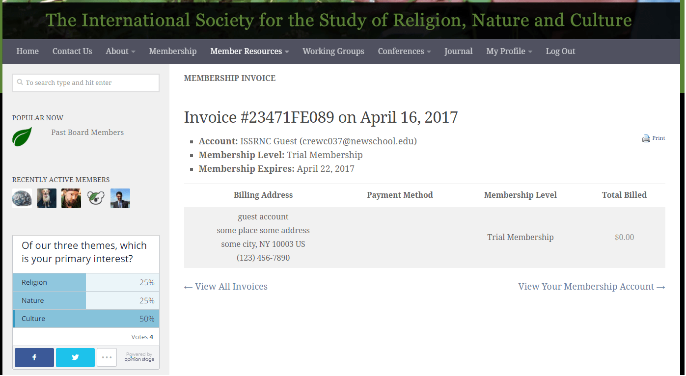 Membership Help The International Society for the Study of – Membership Invoice Template