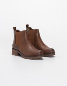 Ankle boots με croco και λάστιχα στο πλάι - Κάμελ