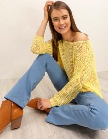 Πλεκτή μπλούζα σε φαρδιά γραμμή - Κίτρινο