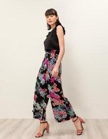 Ψηλόμεση φλοράλ παντελόνα - Μαύρο