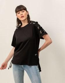 T-shirt με κρίκους - Μαύρο