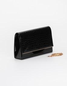 Τσάντα λουστρίνι με croco λεπτομέρεια - Μαύρο
