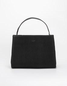 Τσάντα ώμου με ριγωτό σχέδιο - Μαύρο