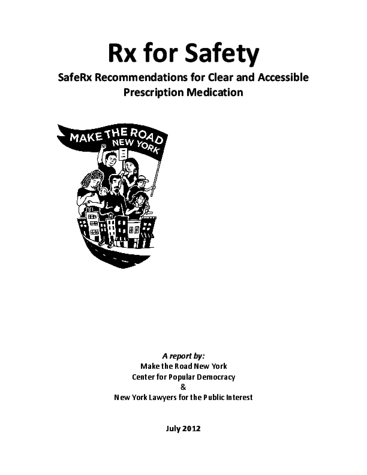 Rx for Safety: SafeRx Recommendations for Clear and