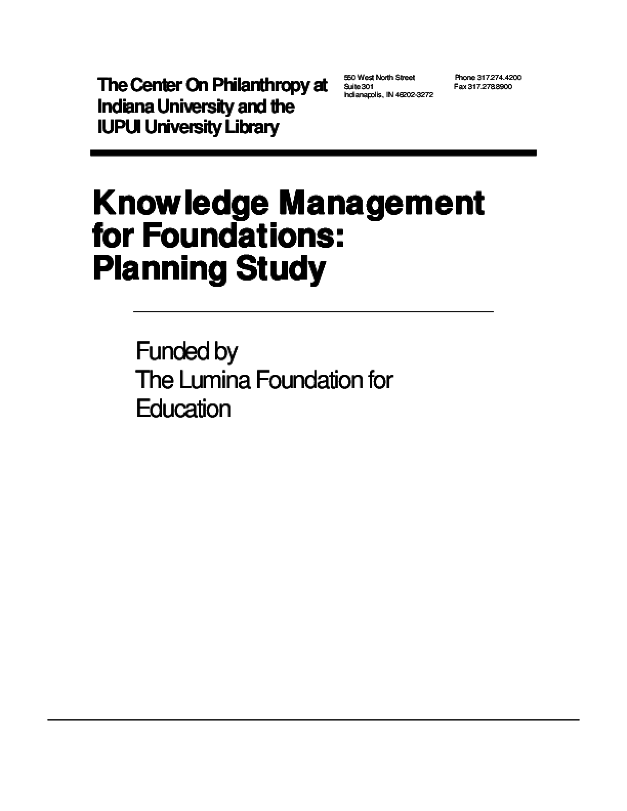 Knowledge Management for Foundations: Planning Study