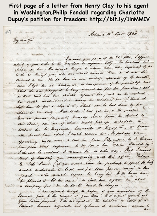 Henry Clay's letter to his agent in Washington, Philip Fendall regarding Charlotte Dupuy