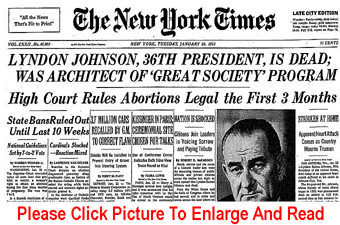 The cover of the The New York Times from January 23, 1973, featuring headlines regarding the Roe v. Wade decision and Lyndon B. Johnson's death.