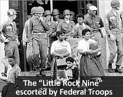 The Little Rock Nine Escorted By Federal Troops