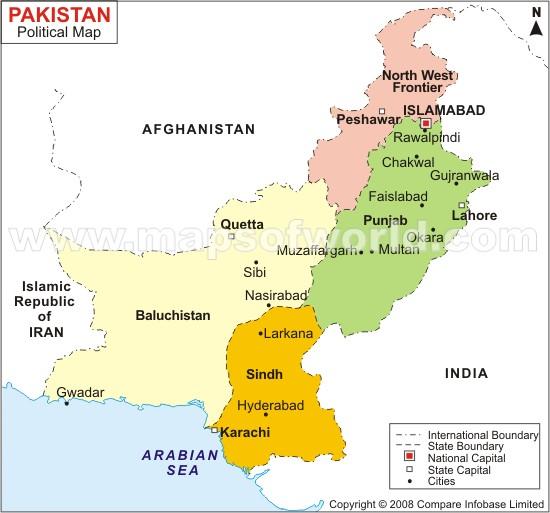 Pakistan Map and Pakistan Satellite Image