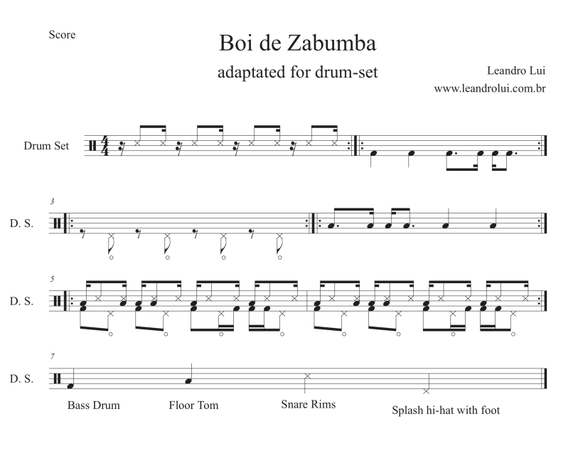 Boi de Zabumba Bateria - Score