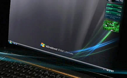 Screenshot of the black Windows Vista Ultimate wallpaper