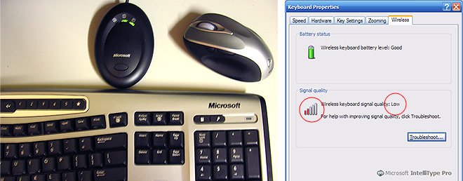 Wireless Desktop 6000 keyboard wireless problem