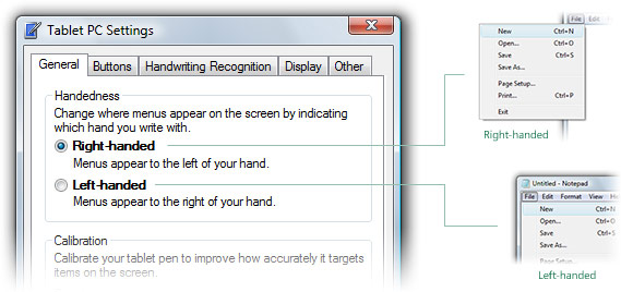 Tablet PC settings