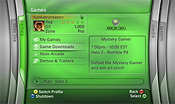 "XBOX 360 ""Blade"" user interface"