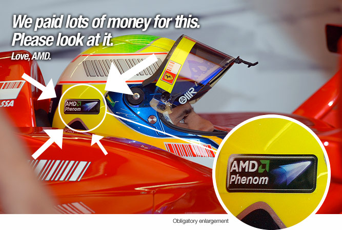 AMD Phenom logo on Ferrari Formula One Helmets