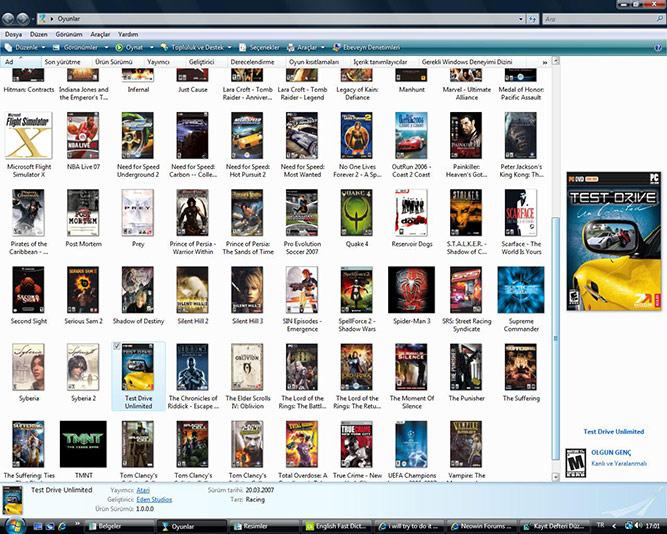 Windows Vista Games Explorer