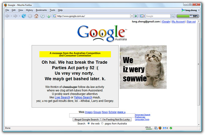 Google breaches Trade Practices Act in Australia (LOLCat)