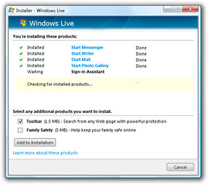 Windows Live installer