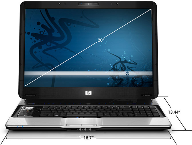 HP Pavilion HDX notebook size measurements
