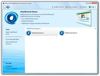 Microsoft HealthVault Connection Center