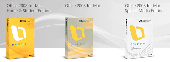 Office Mac 2008 lineup packaging
