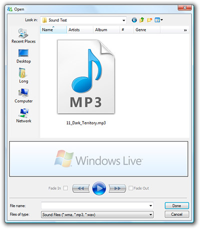 Windows Live Messenger sound editor