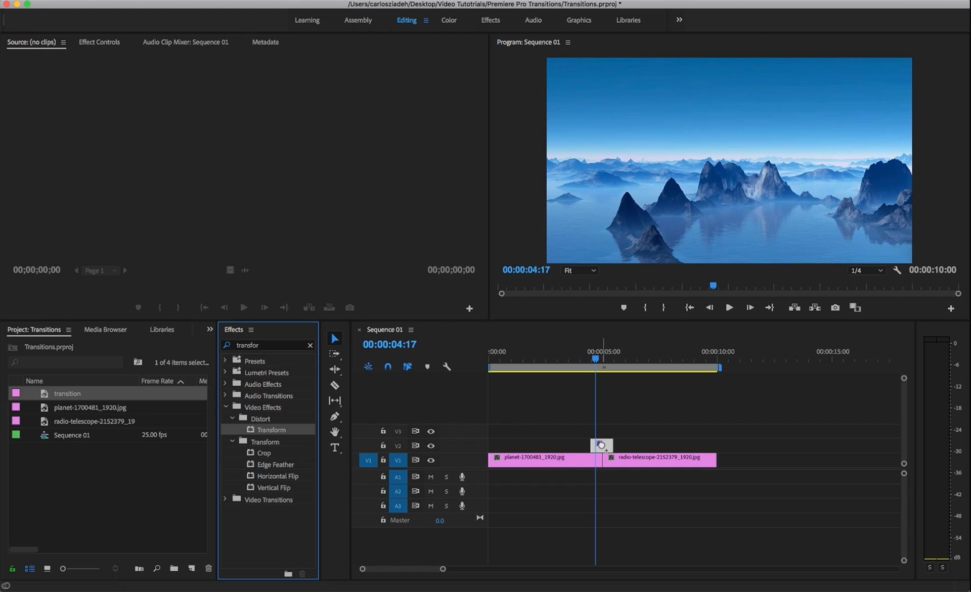 Create zoom blur and whip transitions transitions on premiere pro