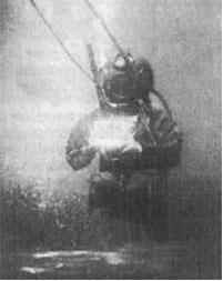 Emil Racoviţă scafandru la Banyuls-sur-Mer în iarna 1899,