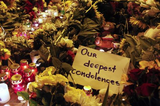 Tributes near the Dutch embassy for victims of Malaysia Airlines MH17, which crashed in eastern Ukraine, in Kiev