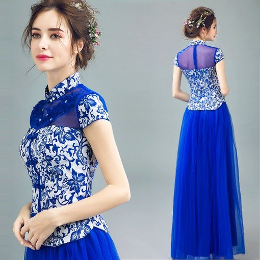 Stand Neck A Line Blue Evening Gown - Cheap Prom Dress,Evening Dress ...