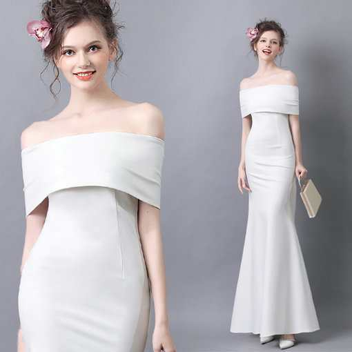 Long Prom Dress White Evening Dress Off The Shoulder - Cheap Prom ...