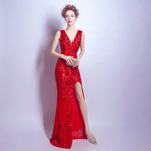 V Neck Red Evening Gown With Train Online - Cheap Prom Dress,Evening ...