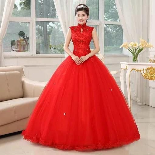 stand neck wedding dress