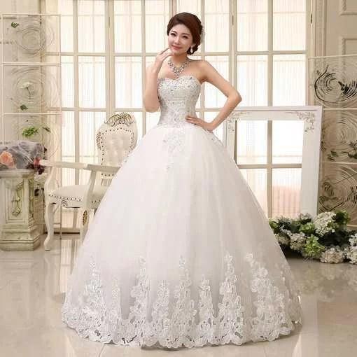 Ball Gown Bridal Dress Strapless Lace Up Wedding Dress Sale - Cheap ...