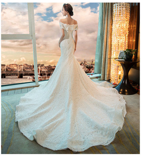 Off The Shoulder Lace Mermaid Wedding Dress With Train - Cheap Prom ...