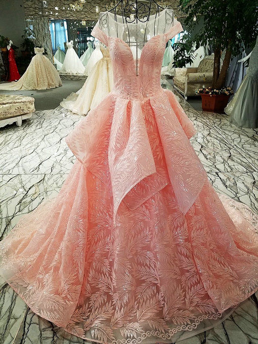 Haute Couture Off Shoulder Ball Gown Pink Wedding Gown For Sale