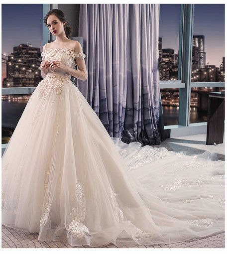 Wedding Dress Pincess Off Shoulder Ball Gown Bridal Dress For sale ...
