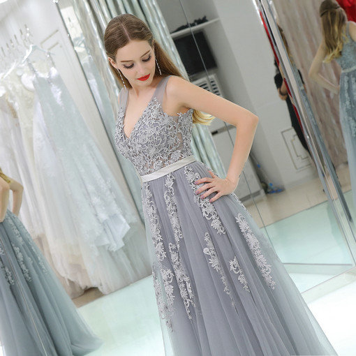 V Neck A Line Long Grey Evening Gown Lace Online