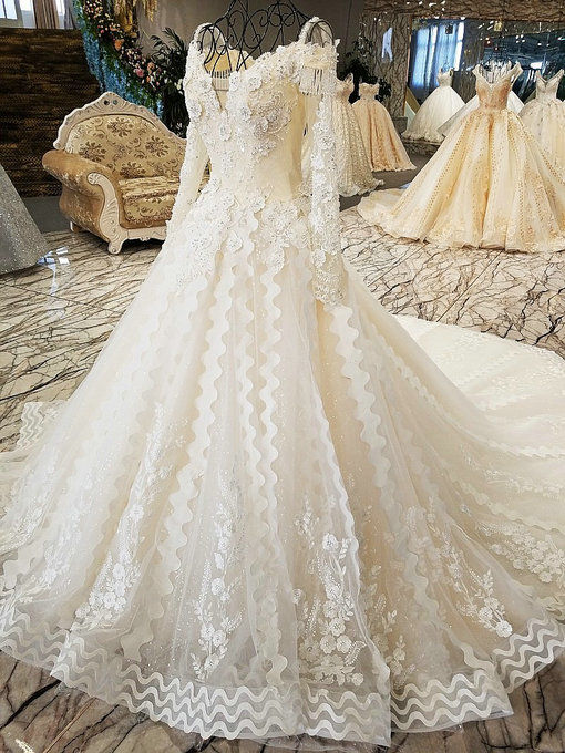 Long Sleeve Wedding Dress Haute Couture Crystal Bridal Gown Online