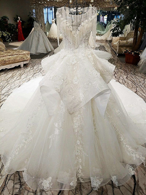 Haute Couture Plus Size Wedding Dress Hand Made Bridal Gown Online