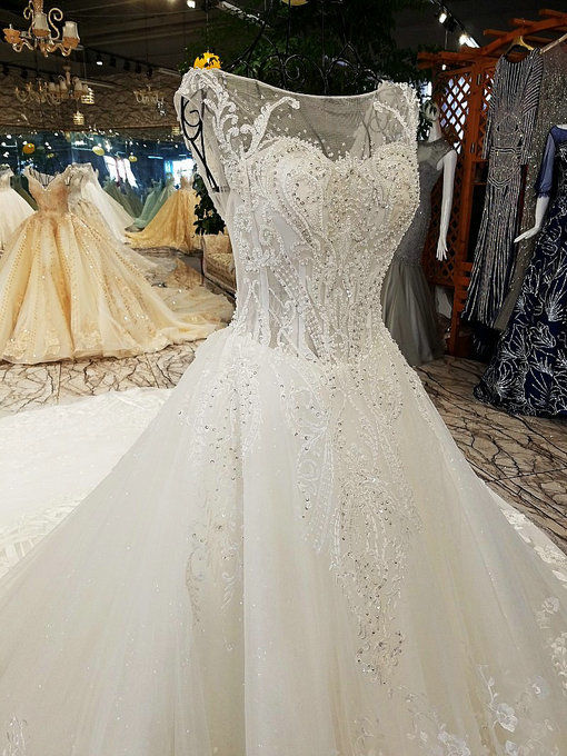 Haute Couture Ball Gown Wedding Dress Lace Monarch Train