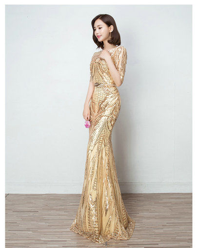Gold Evening Gown Mermaid Evening Prom Dress With Sleeves - Cheap ...