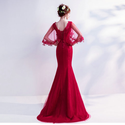 V Neck Mermaid Red Evening Dress With Sleeves Lace Formal Dress