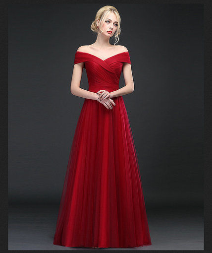 A Line Red Prom Dress Long Evening Gown Online