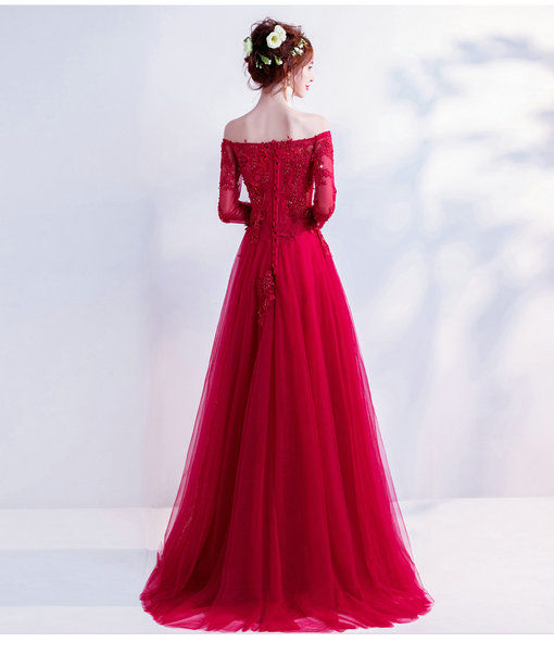 A Line Red Evening Gown With Sleeves Long Prom Dress Wholesale