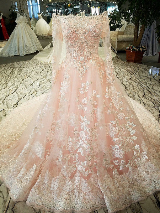 Long Sleeve Wedding Dress Pink Haute Couture Bridal Dress With Train